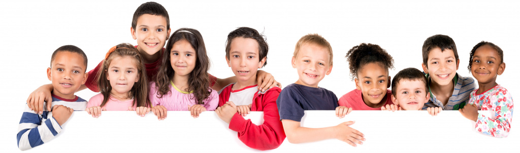 Grupp med barn med vit bakgrund