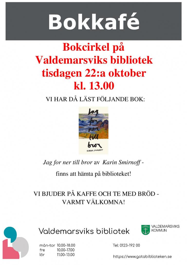 Bokkafé på Valdemarsviks Bibliotek