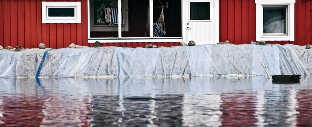 Skyddsvall vis översvämning
