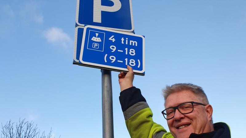 P-skiva för parkering i Valdemarsviks centrum