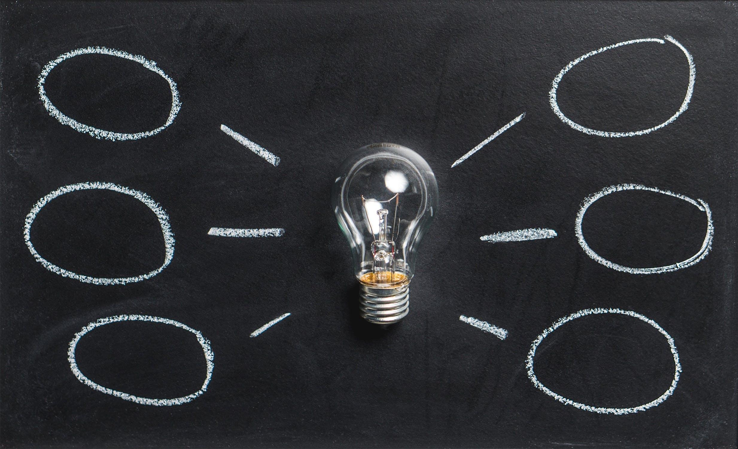 En glödlampa som illustrerar nya idéer