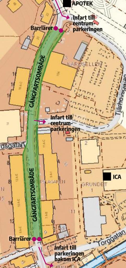 Gångfartsområdet i centrala Valdemarsvik